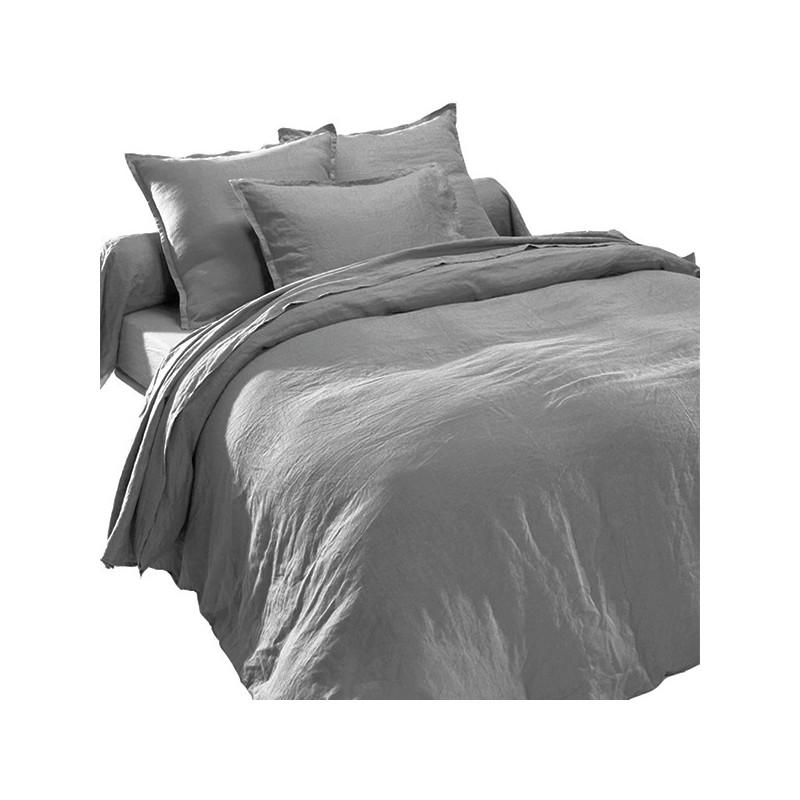 Linge de lit gris en lin lav for Blanc des vosges housse de couette