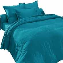Housse de Couette Pur Lin Lavé Bleu Canard 240x280