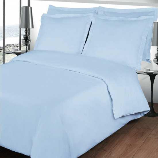 Housse de Couette 240x260 Unie Percale Bleu Glacier 80 fils/cm2