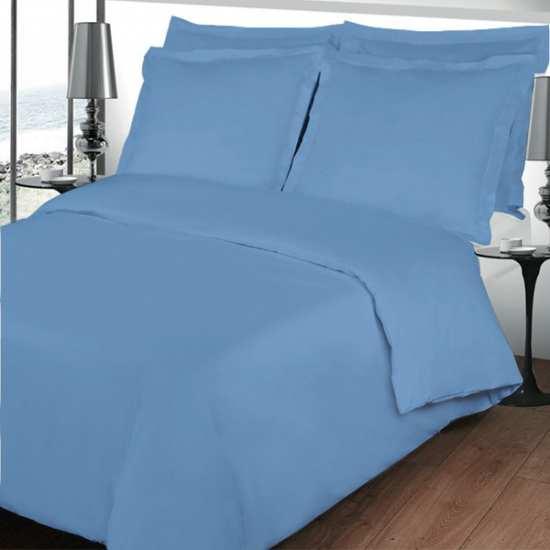 Housse de Couette 200x200 Percale Unie Bleu Lavande 80 fils/cm2