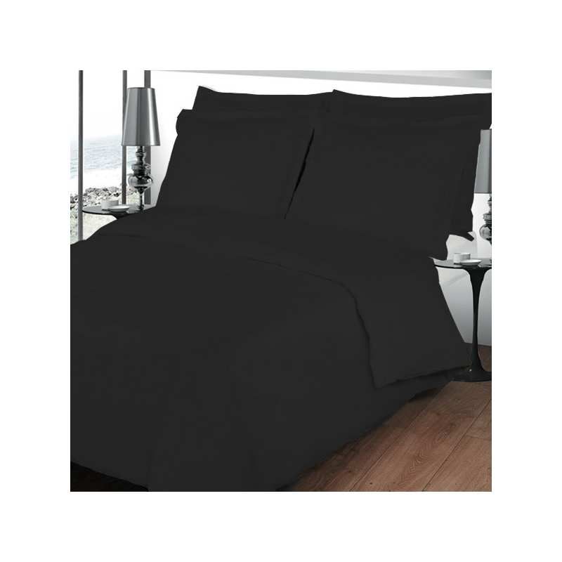 housse de couette 240x260 unie percale noir 80 fils cm2. Black Bedroom Furniture Sets. Home Design Ideas