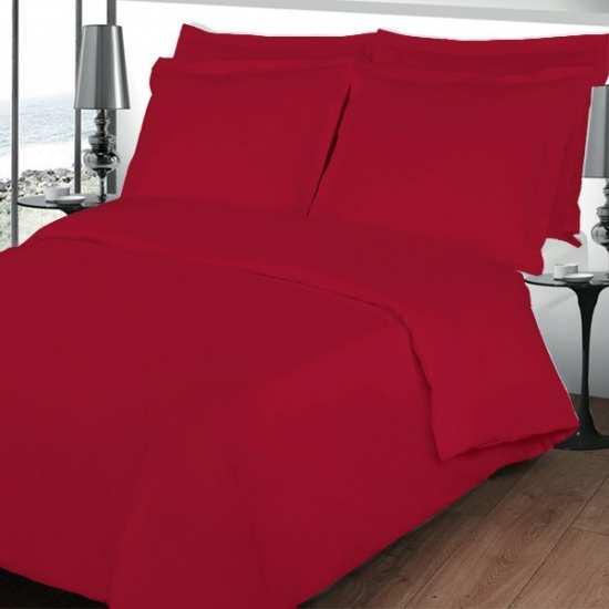 Housse de Couette 220x240 Percale Unie Rouge 80 fils/cm2