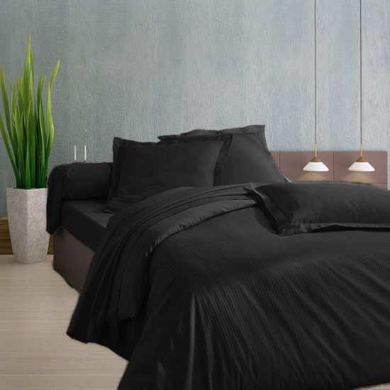 Housse de Couette 200x200 Satin 120 fils/cm2 Fines Rayures Noir