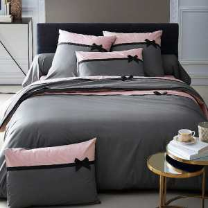 Housse de Couette Frou Frou Anthracite percale 220x240 + 2 taies 65x65