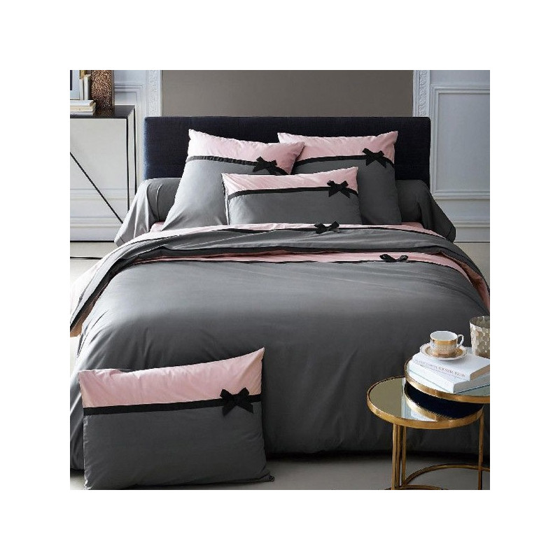 housse de couette frou frou anthracite percale 240x260 2 taies 65x65 la compagnie du blanc. Black Bedroom Furniture Sets. Home Design Ideas