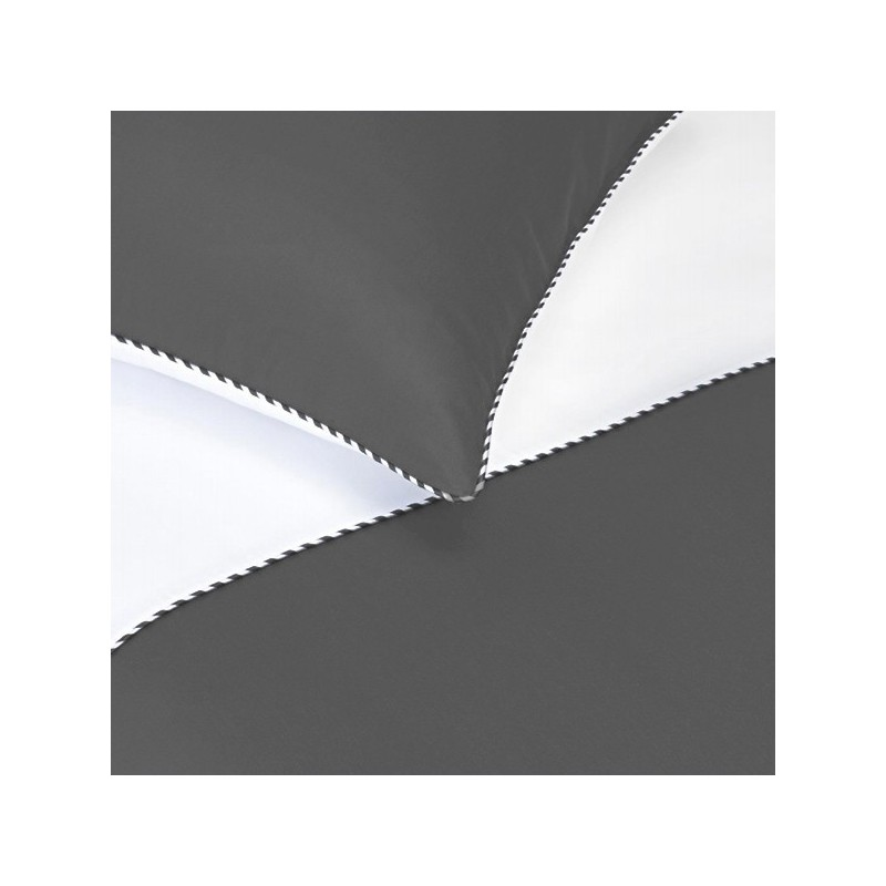 Housse de couette bicolore diva blanc anthracite 240x260 - La redoute housse de couette bicolore ...