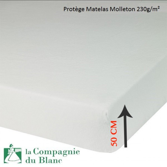 prot ge matelas molleton 230g m bonnet 50 cm la compagnie du blanc. Black Bedroom Furniture Sets. Home Design Ideas