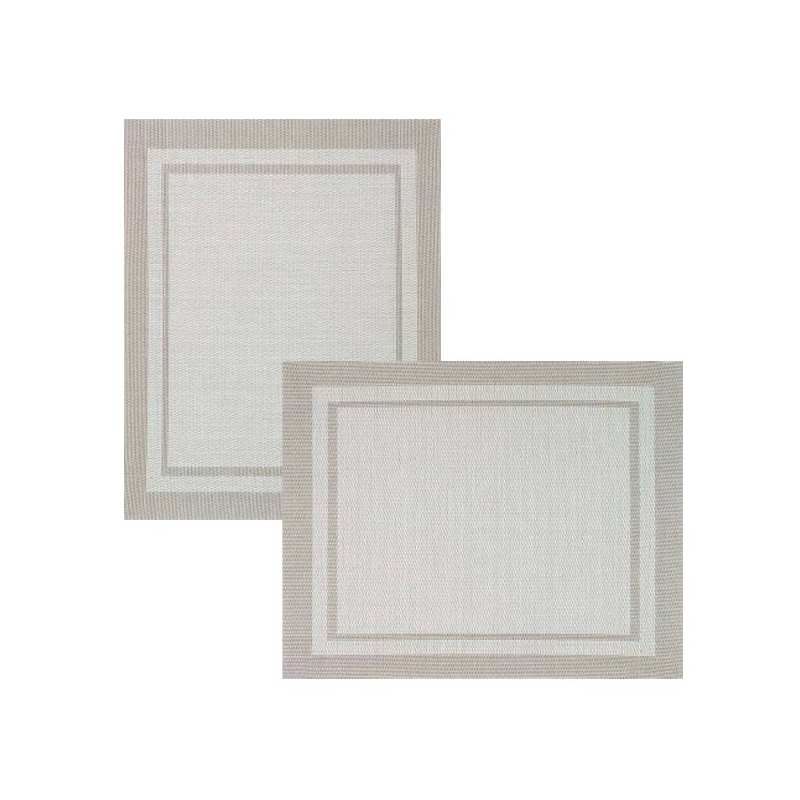 Lot de 6 sets de tables bicolore ecru la compagnie du blanc for Vent du sud linge de maison
