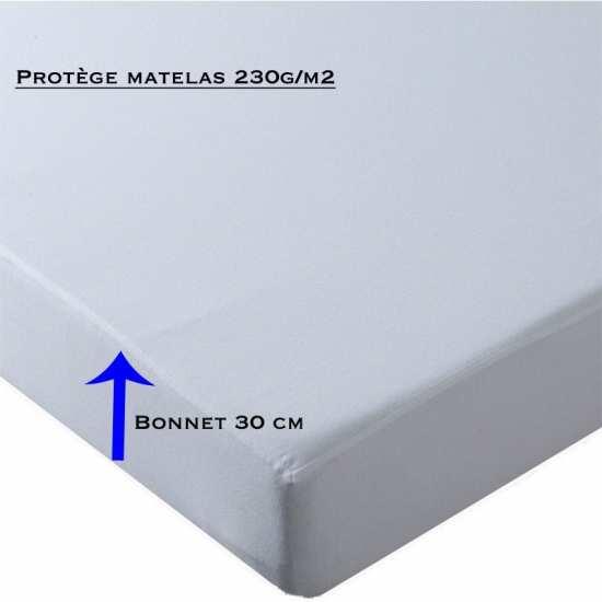 Protège Matelas Molleton 100% coton 230g/m2 Bonnet 30 cm