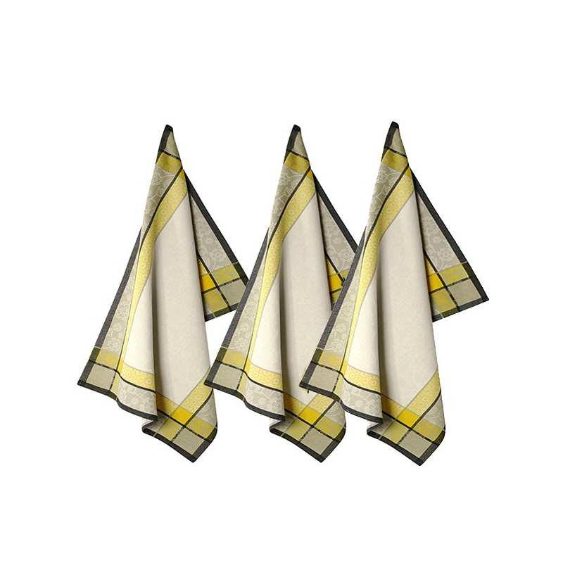 Lot de 3 torchons 48x70 saaya safran vent du sud la - Solde du blanc ...