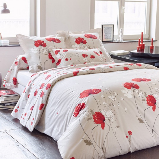 housse de couette cybele percale 200x200 2 taies 65x65 la compagnie du blanc. Black Bedroom Furniture Sets. Home Design Ideas