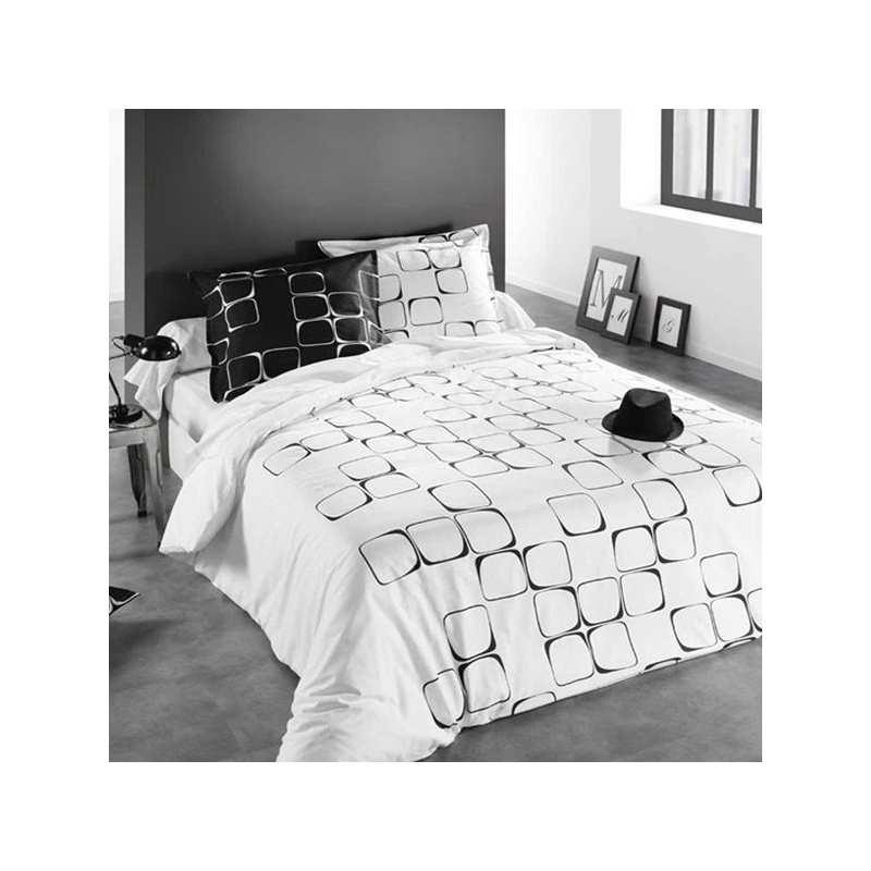 housse de couette black to white 140x200 1 taie 65x65 la compagnie du blanc. Black Bedroom Furniture Sets. Home Design Ideas
