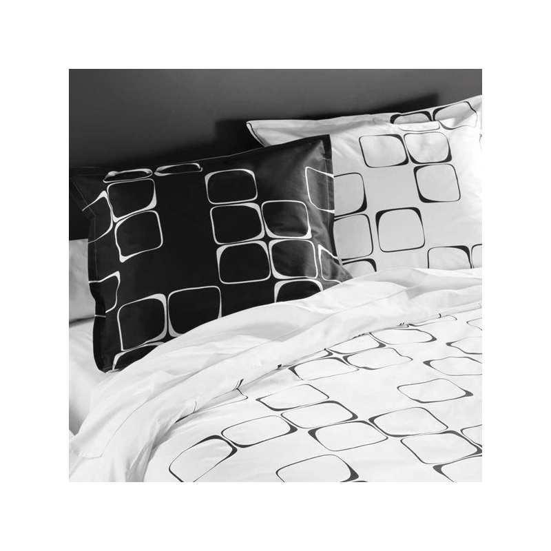 Housse de couette black to white 140x200 1 taie 65x65 for Housse de couette unie 140x200