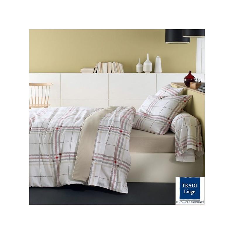 parure de draps flanelle scotland rouge 4 pi ces dh140 dp240 2to la compagnie du blanc. Black Bedroom Furniture Sets. Home Design Ideas