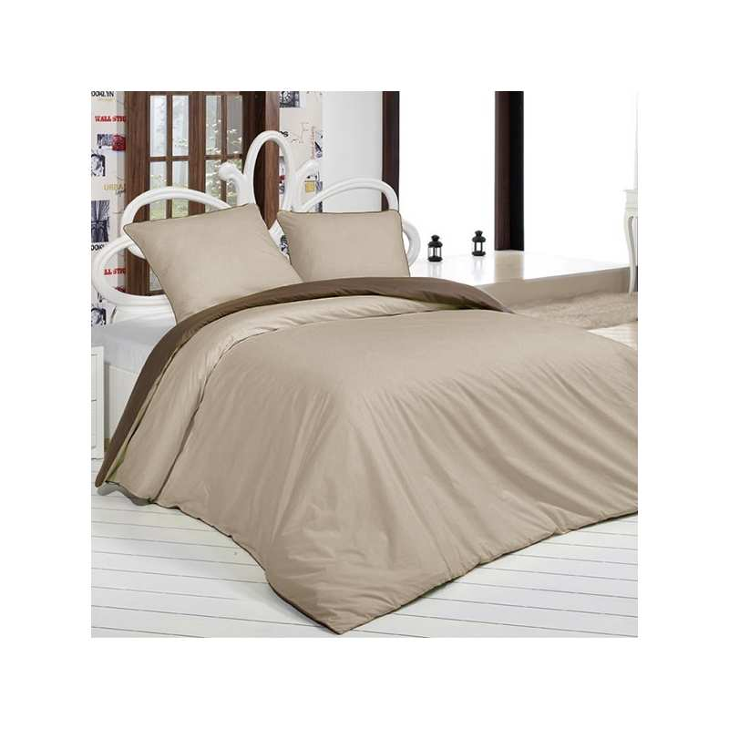 housse de couette bicolore marron beige 200x200 2 taies