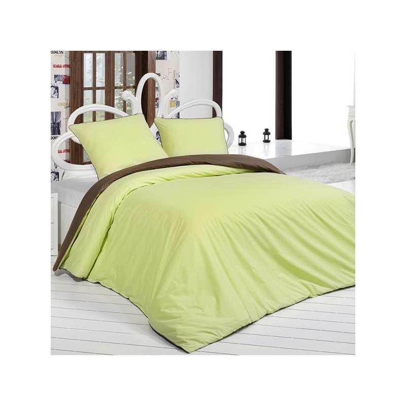 housse de couette bicolore marron anis 240x260 2 taies 65x65 la compagnie du blanc. Black Bedroom Furniture Sets. Home Design Ideas