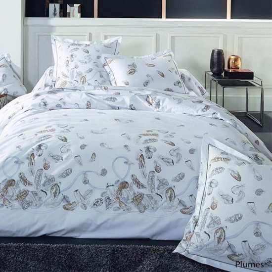 Housse de Couette Percale Plumes 280x240 + 2 taies 65x65