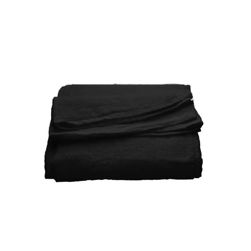 drap plat en pur lin lav luxe noir la compagnie du blanc. Black Bedroom Furniture Sets. Home Design Ideas