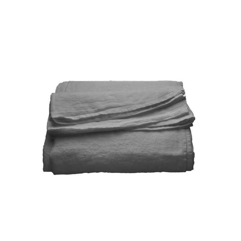 drap plat en pur lin lav luxe gris metal la compagnie du blanc. Black Bedroom Furniture Sets. Home Design Ideas