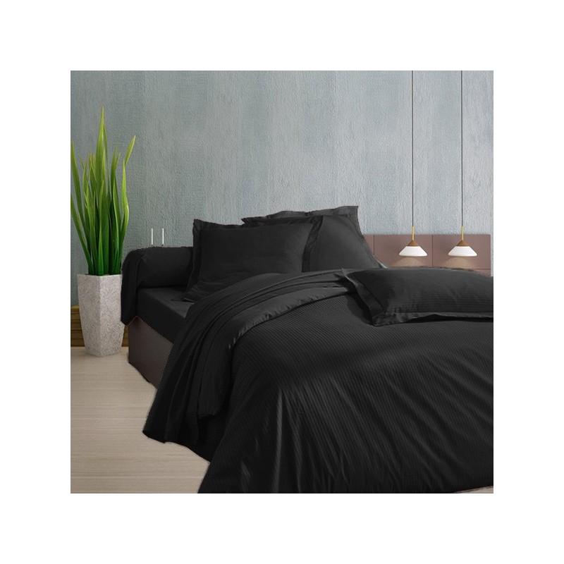 drap plat en satin de coton fines rayures 120 fils cm2. Black Bedroom Furniture Sets. Home Design Ideas