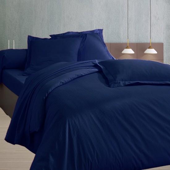 drap plat en satin de coton fines rayures 120 fils cm2 marine la compagnie. Black Bedroom Furniture Sets. Home Design Ideas