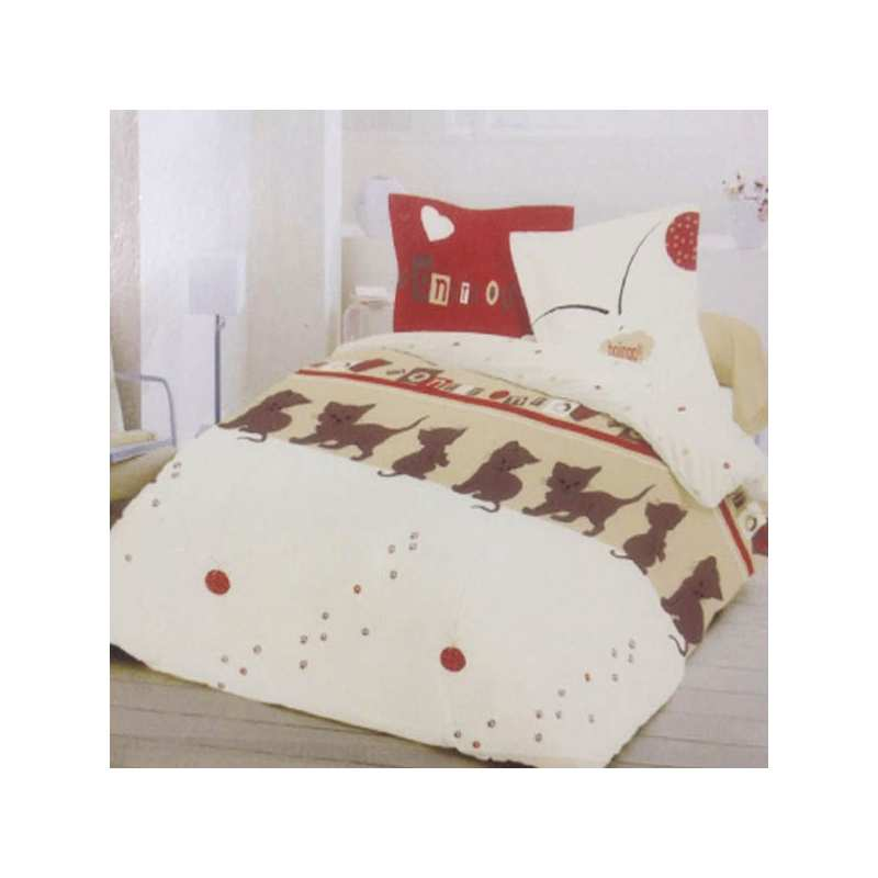housse de couette chat 220x240 2 taies 65x65 la. Black Bedroom Furniture Sets. Home Design Ideas