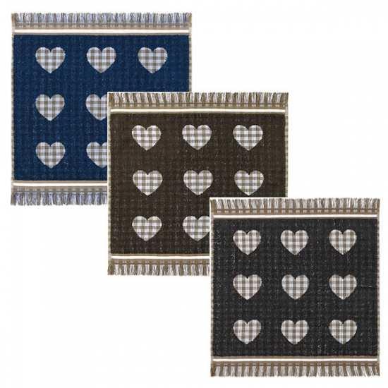 Lot de 3 Essuies Mains 50x50 Coeurs