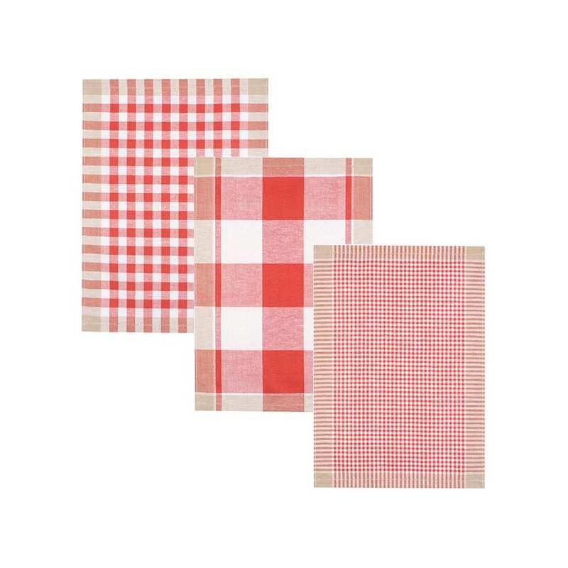 Lot de 3 torchons metis 50x70 carreaux rouges la - Solde du blanc ...