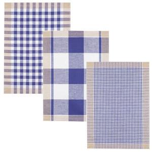 Lot de 3 Torchons METIS 50x70 Carreaux Bleus