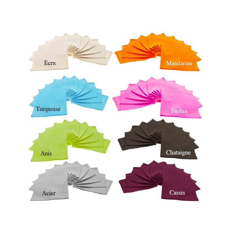Lot de 6 serviettes de table unie 45x45 100 coton fil teint la compagnie du blanc - Serviette de table carreaux ...