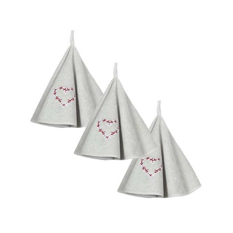 lot de 3 torchons ronds eponge neuchatel perle la compagnie du blanc. Black Bedroom Furniture Sets. Home Design Ideas