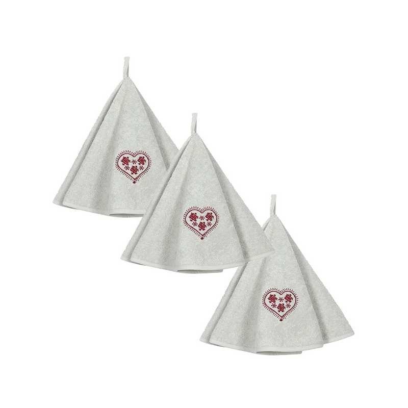 lot de 3 torchons ronds eponge zermatt perle la compagnie du blanc. Black Bedroom Furniture Sets. Home Design Ideas