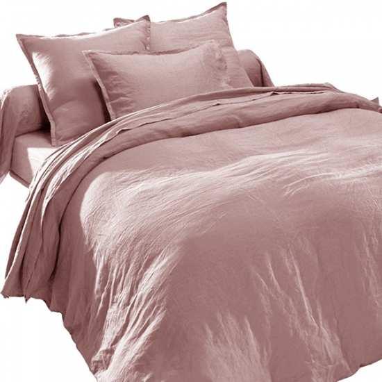 drap plat en pur lin lavé luxe vieux rose - la compagnie du blanc