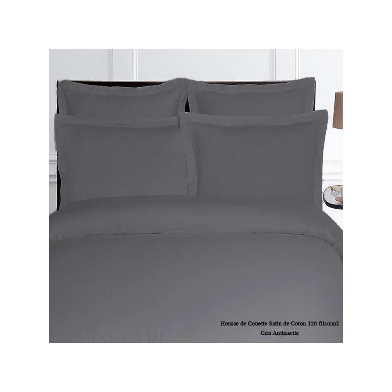 housse de couette satin de coton unie 120 fils cm2 240x260 gris anthracite la compagnie du blanc. Black Bedroom Furniture Sets. Home Design Ideas