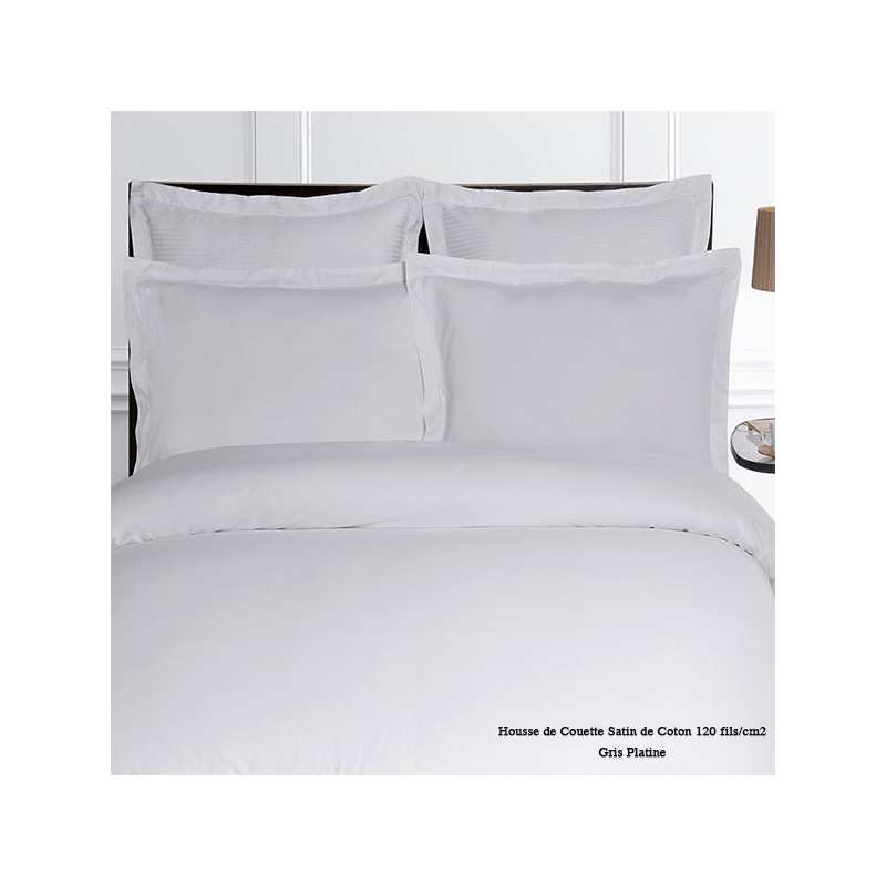 housse de couette satin de coton unie 120 fils cm2 240x260 gris platine la compagnie du blanc. Black Bedroom Furniture Sets. Home Design Ideas