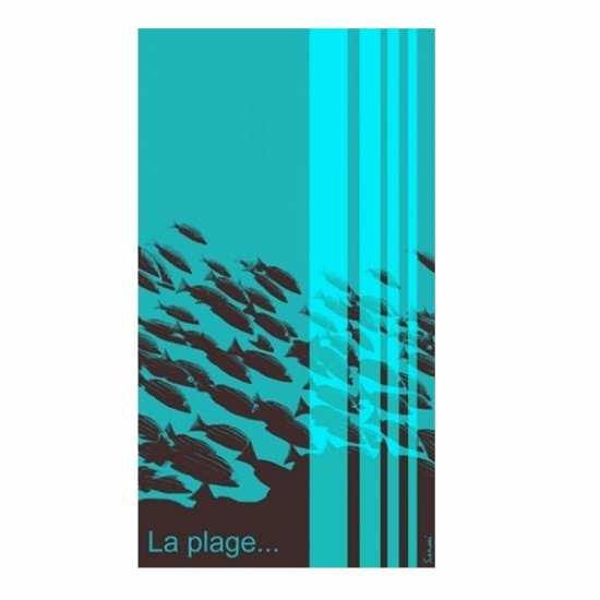 "Drap de Plage Choco/Turquoise ""La Plage"" 100x180 - Sensei -"