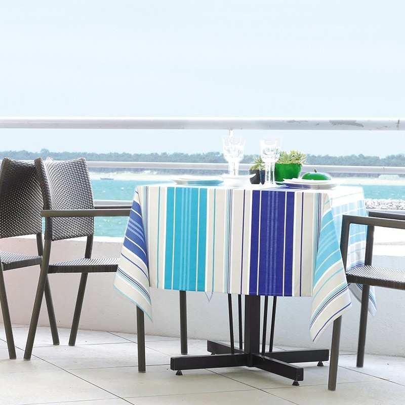 nappe capbreton ocean 160x250 coton enduit imprim la compagnie du blanc. Black Bedroom Furniture Sets. Home Design Ideas