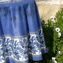 Nappe Grimaud Bleu 160x250 Coton Enduit Imprimé