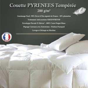 """Couette Duvet """"Pyrénées"""" 240x260 90% Duvet Oie Neuf de France 200gr/m² TEMPEREE"""