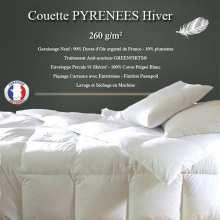 """Couette Duvet """"Pyrénées"""" 200x200 90% Duvet Oie Neuf de France 260gr/m² HIVER"""