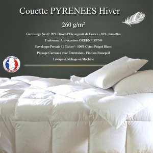 """Couette Duvet """"Pyrénées"""" 240x260 90% Duvet Oie Neuf de France 260gr/m² HIVER"""