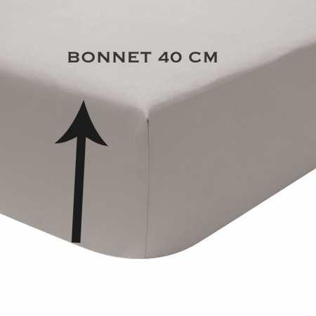 Drap Housse uni Percale 80 fils/cm² coton peigné BONNET 40 cm