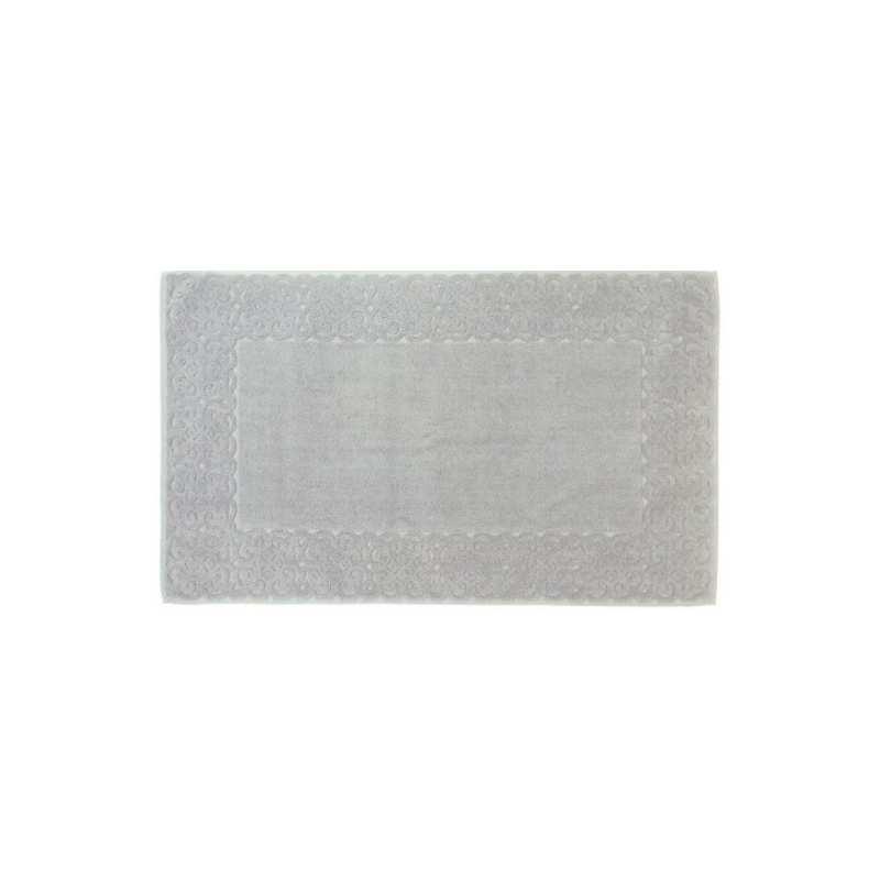 Tapis de bain spirale jacquard 60x100 cm 1200gr m2 gris perle la compagnie du blanc Tapis de bain de luxe