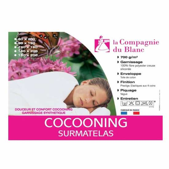 Surmatelas de Confort Cocooning 90x190 Haut de Gamme