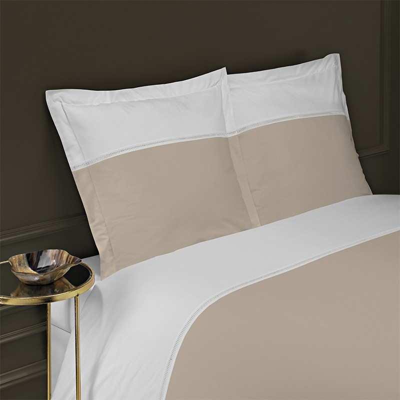 housse de couette 140x200 venise jour echelle blanc beige la compagnie du blanc. Black Bedroom Furniture Sets. Home Design Ideas