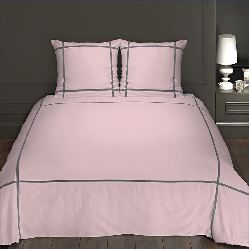 housse de couette satin de coton rose et gris elegance. Black Bedroom Furniture Sets. Home Design Ideas