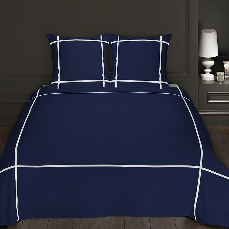 housse de couette bleu marine satin de coton. Black Bedroom Furniture Sets. Home Design Ideas