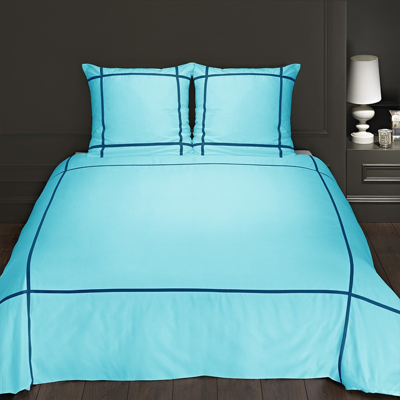 housse de couette turquoise satin de coton. Black Bedroom Furniture Sets. Home Design Ideas