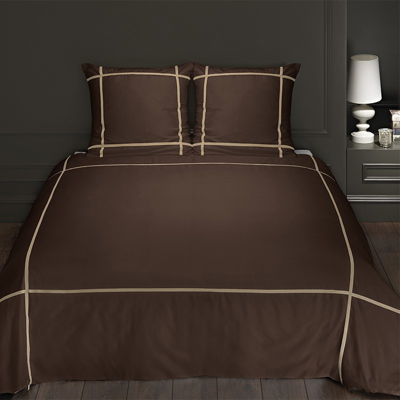 Linge de lit chocolat satin de coton 120 fils for Housse couette satin