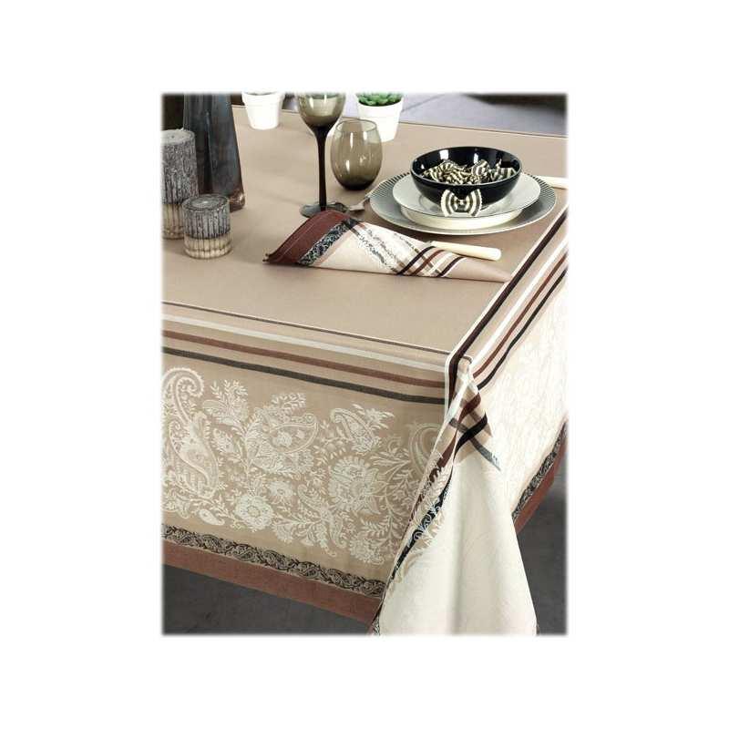 Nappes de table coton jacquard la compagnie du blanc for Vent du sud linge de maison